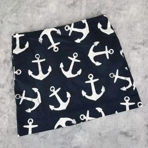 J. Crew Mini Skirt 4 Blue Anchor Nautical